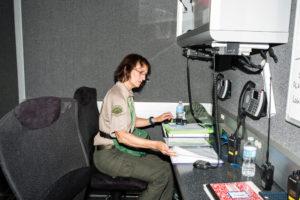 Laurel Wetzork at Ham radio station in EOC