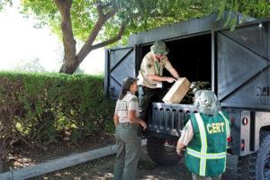 Shelter set up - off loading trailer